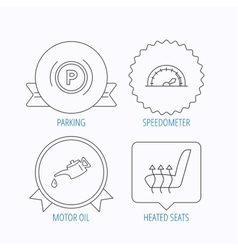 Motor oil parking and speedometer icons vector image