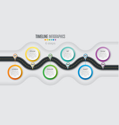 Navigation map infographic 6 steps timeline vector