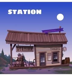Old tavern on background wild west vector