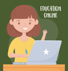 Online education female teacher with laptop and vector