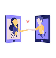 online or telephone love and communication concept vector image