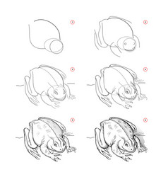 Page shows how to learn to draw sketch of toad vector