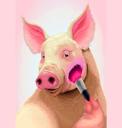 pig is applying the blush on her cheek vector image