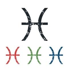 Pisces grunge icon set vector
