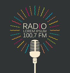 radio banner with microphone and place for text vector image