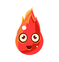 Red fire element in flamesegg-shaped cute vector