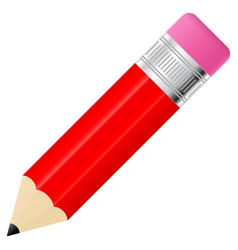 Red pencil with eraser vector