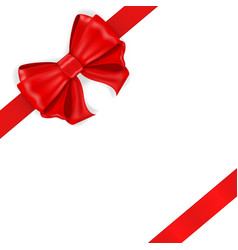 Red ribbon bow diagonal wrapped gift vector