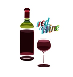 Red wine glass and bottle abstarct vintage poster vector