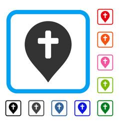 Religion cross marker framed icon vector