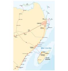 Riviera maya and holbox island road map vector