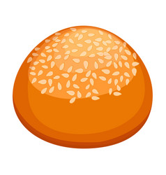 round bun covered in sesame realistic style vector image