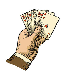 Royal flush in hearts male hand holding a game vector