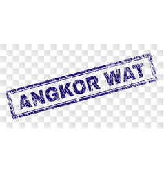 Scratched angkor wat rectangle stamp vector
