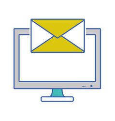 Screen computer with text letter message vector
