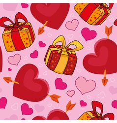 seamless gifts and hearts vector image