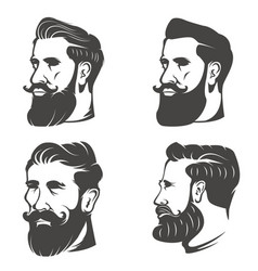 set bearded mans head isolated on white vector image
