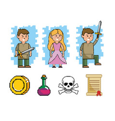 Set boy with sword and princess with videogame vector