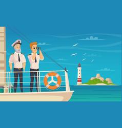 Ship crew captain cartoon poster vector