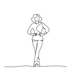 Slender girl standing in trousers one line vector