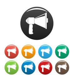 small megaphone icons set color vector image
