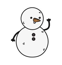 snowman waving hand decoration merry christmas vector image