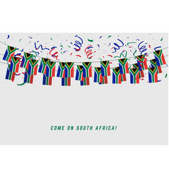 south africa garland flag with confetti vector image