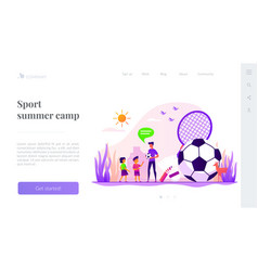 Sport summer camp landing page template vector