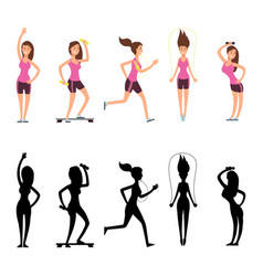 sport woman characters female fitness vector image