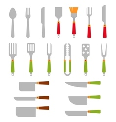 Stainless steel BBQ grill tools and cooking vector