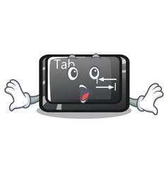 Surprised tab button attached to cartoon keyboard vector