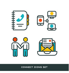 Thin lines connection icons outline set of big vector