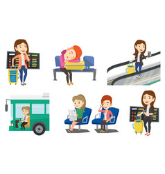 transportation set with people traveling vector image
