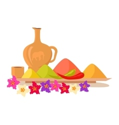 Variety of spices on a wooden tray with flowers vector