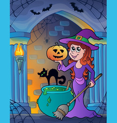 wall alcove with halloween theme 4 vector image