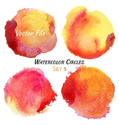 Watercolor Red and Yellow Colorful Circles Set vector image