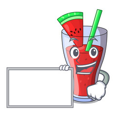 With board character tasty beverage fruit vector