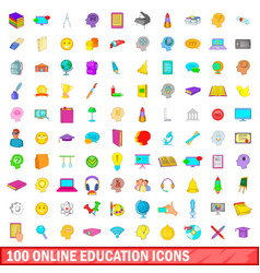 100 online education icons set cartoon style vector image vector image