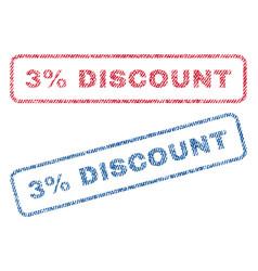 3 percent discount textile stamps vector image