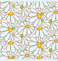 chamomile light blue seamless pattern vector image