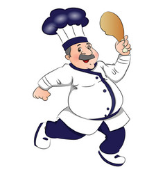 chef running with meat in hand vector image vector image