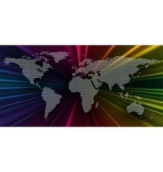 Colorful 3d background with dotted world map vector image