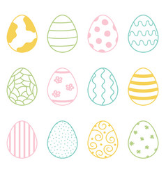 set of cute colorful doodle easter eggs vector image