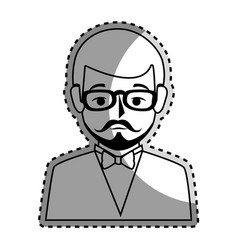 Sticker silhouette half body man formal style with vector