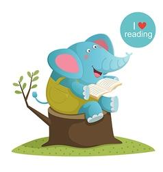 Cartoon elephant reading a book vector image vector image