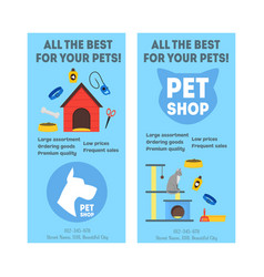 cartoon pet shop banner or flyer service vertical vector image