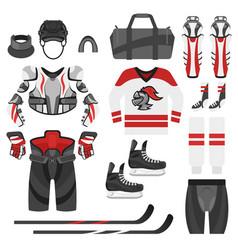 flat style set of hockey equipment vector image