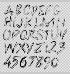 handwritten brush font letters and numbers vector image vector image