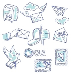 Postage set vector image vector image