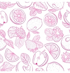 Seamless monochrome pattern fruit berry mix vector image